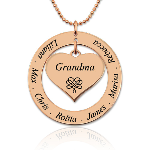 Engraved Circle Necklace Grandma Heart Pendant In Rose Gold