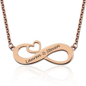 Engraved Infinity Heart necklace In Rose Gold