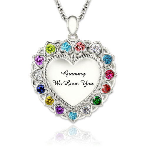 Heart Necklace With Birthstones Grandma Necklace Platinum Plated