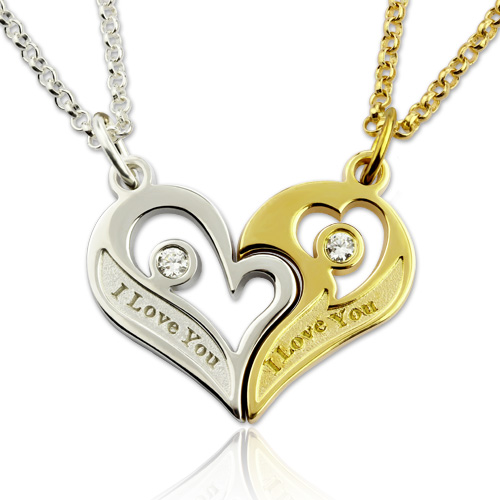 Engraved Birthstones Breakable Heart Necklace For Couples