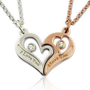 Couple's Breakable Heart Necklace With Birthstones