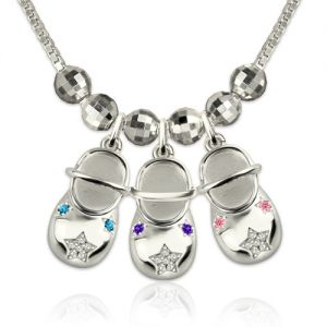 Engraved Baby Shoe Charm Necklace with Birthstones Platinum Plated