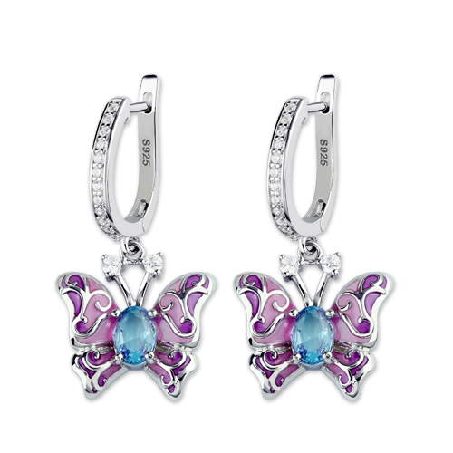 Butterfly Earring With Birthstones Platinum Plated