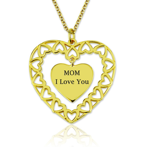 Engraved Love Circle Necklace Gold Plated