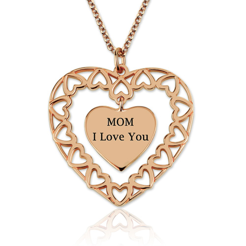 Engraved Love Circle Necklace In Rose Gold