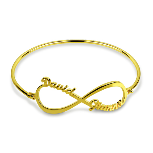 Custom Infinity 2 Names Bangle Gold Plated