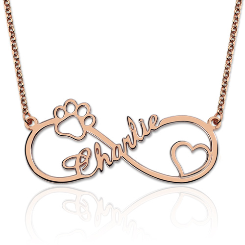 Customized Infinity Paw Print Name Necklace In Rose Gold