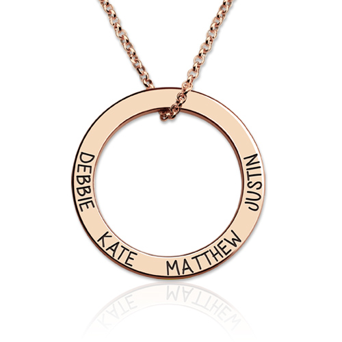 Engraved Names Hoop Necklace-Family Necklace In Rose Gold