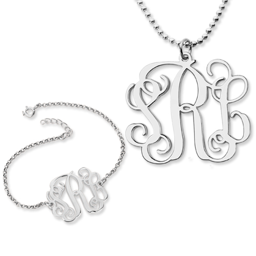 Personalize Monogram Bracelet & Monogram Necklace Set Sterling Silver