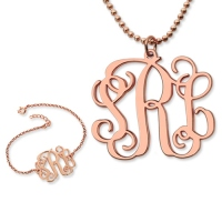 Personalize Monogram Bracelet & Monogram Necklace Set In Rose Gold
