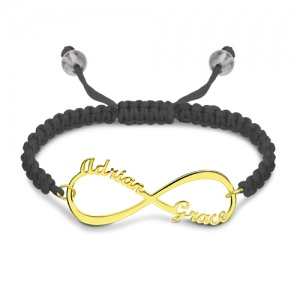 Personalised Infinity 2 Names Cord Bracelet Gold Plated