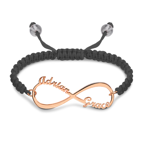 Personalized Infinity 2 Names Cord Bracelet In Rose Gold