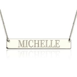 Engraved Name Bar Necklace In Sterling Silver