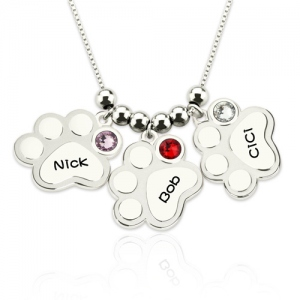 Multiple Engraved Paw Print Necklace With Birthstones Sterling Silver