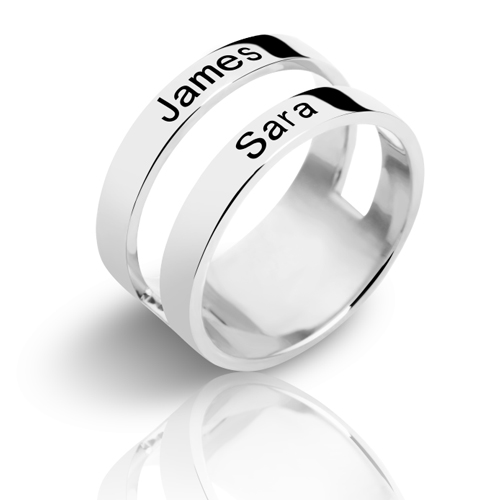 Customized Mother's Engraved Two Names Ring Sterling Silver