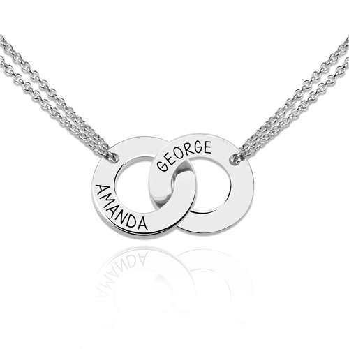 Engraved Interlocking Two Circle Necklace Sterling Silver