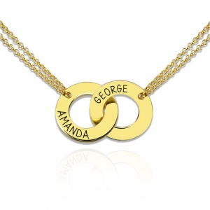 Engraved Interlocking Two Circle Necklace Gold Plated Silver