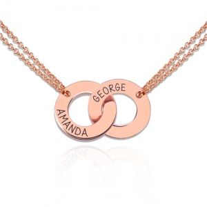 Engraved Interlocking Two Circle Necklace Rose Gold