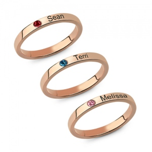 Mother's Stackable Name Ring With Birthstone In Rose Gold