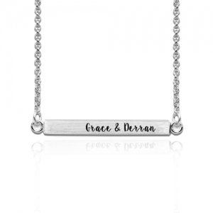 Custom Four Side Engraved Bar Necklace Sterling Silver