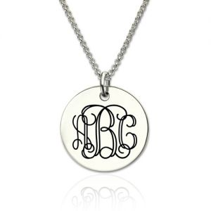 Sterling Silver Engraved Disc Monogram Necklace
