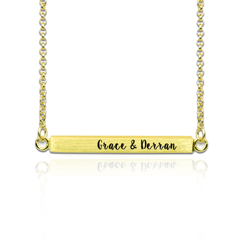 Custom Four Side Engraved Bar Necklace Gold Plated
