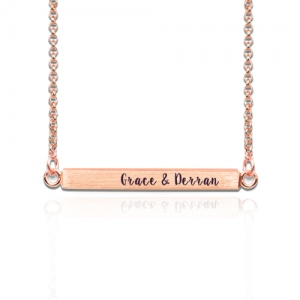 Custom Four Side Engraved Bar Necklace In Rose Gold