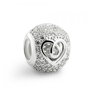 Silver Sparkle Hollow Heart Charm
