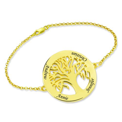 Personalized Engraved Family Tree Bracelet Gold Plated
