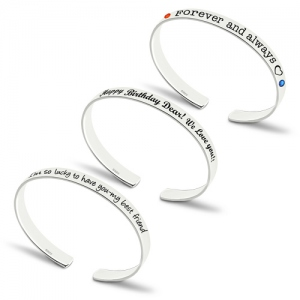Personalized Engraved Bangle With Birthstones Silver