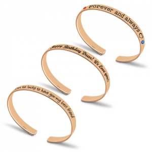 Personalized Engraved Bangle With Birthstones In Rose Gold
