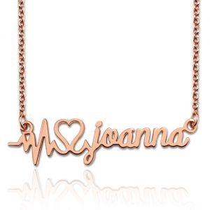 Personalized Heartbeat Name Necklace In Rose Gold