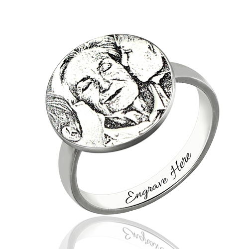 Personalised Photo-Engraved Ring In Sterling Silver