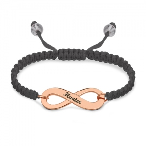 Engraved Infinity Symbol Cord Bracelet In Rose Gold