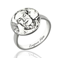 Personalized Photo-Engraved Ring In Sterling Silver