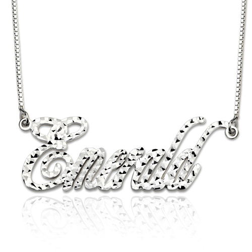 Personalized Champagne Style CNC Name Necklace Sterling Silver
