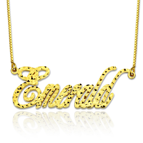 Personalized Champagne Style CNC Name Necklace In Gold