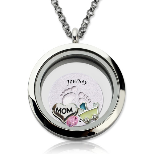 Engraved baby feet floating charm locket for mom mozeypictures Images