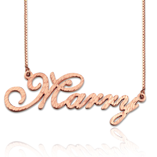 CNC Cursive Style Name Necklace In Rose Gold