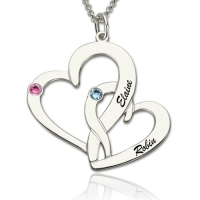 Interlocking Two Heart Necklace with Name & Birthstone