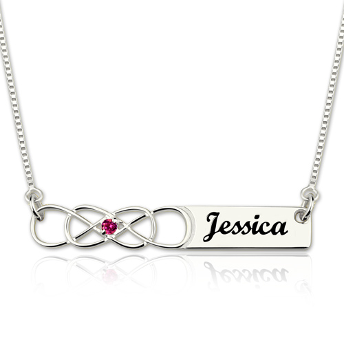 Double Infinity Bar Necklace with Birthstone Sterling Silver