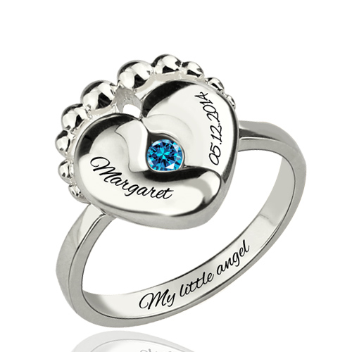 Engraved Baby Feet Birthstone Ring For New Mom Silver