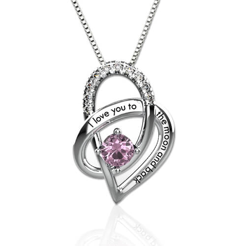I Love You To The Moon And Back Birthstone Heart Necklace