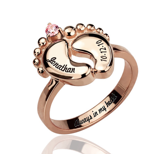 Engraved Baby Feet Ring With Birthstone In Rose Gold