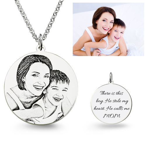 Personalized Photo Engraved Necklace Best Gift For Mother