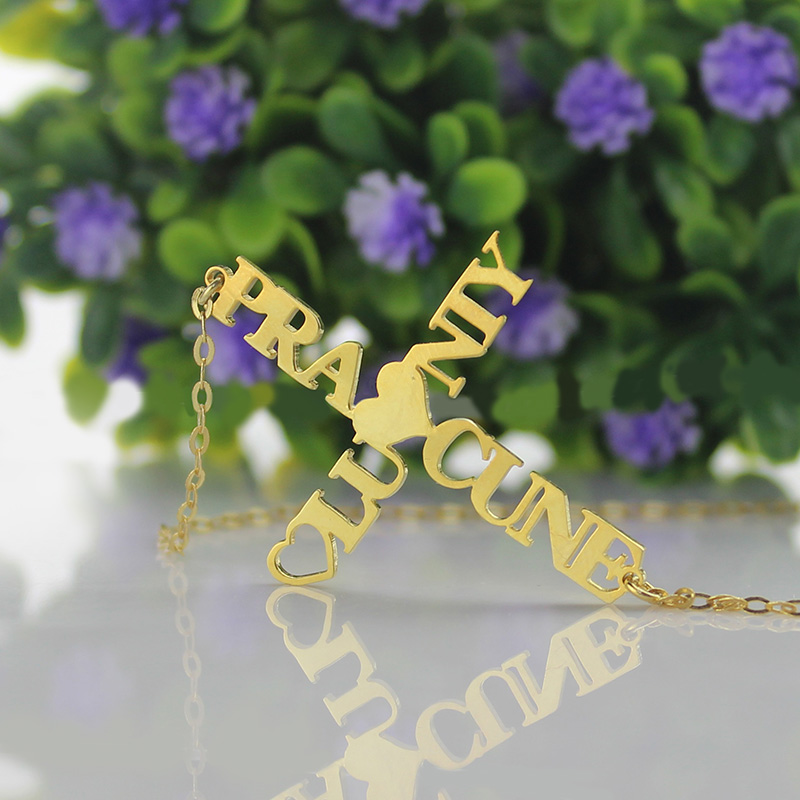 Personalized Two Name Cross Necklace Gold Plated 925 Silver