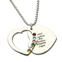 Mothers Heart Necklace Engraved Name and Birthstone