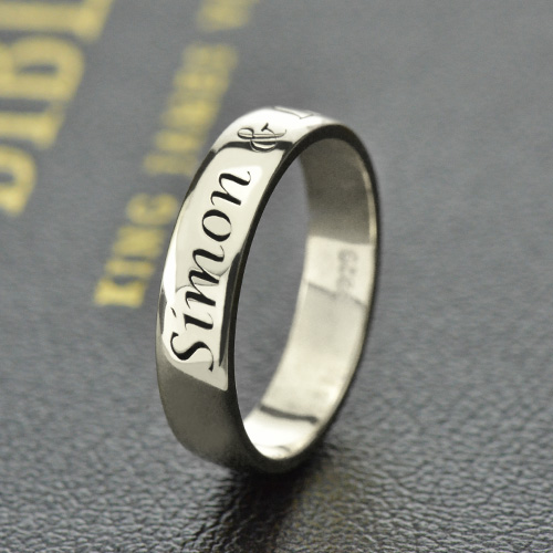 Personalized Promise Name Ring Sterling Silver