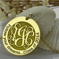 Follow Your Dreams Disc Monogram Necklace 18K Gold Plated