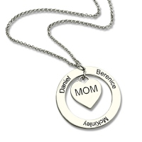 Family Names Necklace For Mom Sterling Silver